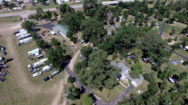 aerial image of campground in Sturgis